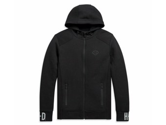 "Herren Rib Knit Zip ""Side Hoodie"" 99094-20VH Schwarz Sweatshirt"