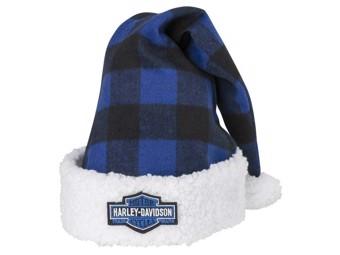 """""""SANTA HAT BLUE PLAID"""" Weihnachtsmütze blau HDX-99152"""