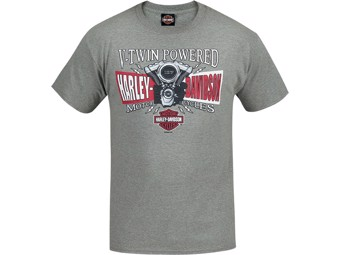 Harley-Davidson -V-TWIN SPLIT- Dealer T-Shirt R003414 Grey Cotton Tee