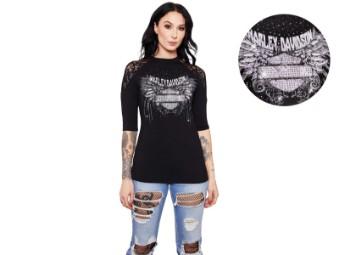 """Damen Shirt """"Stone Cold Cycle"""" HT4513BLK mit 3/4-Ärmeln schwarz"""