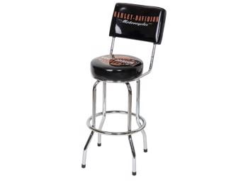 Classic Bar and Shield Barstool HDL-12204 black chrome backrest