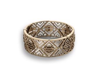 """Armband Bracelet """"BAR & SHIELD"""" Gold 97883-18VW Stretch"""