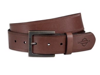 Men's Belt 97706-18VM Brown Bar & Shield