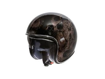 Vintage Jet Helm BD Schwarz Chromed PR9VIN77 Open Face