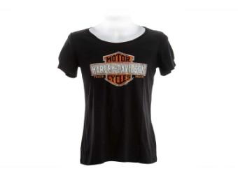 Harley Davidson Dealer Damen Shirt R003435 Schwarz Trademark Logo Straß