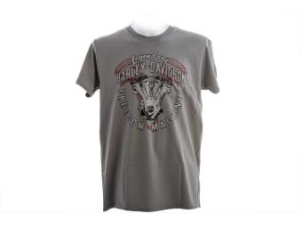 """Ricks Herren T-Shirt """"Engine Works"""" Grau  R003702"""
