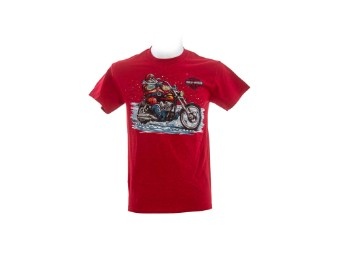 "Ricks Harley-Davidson Dealer Shirt ""Santa Ride"" R003786 Bar & Shield Cherry Red"