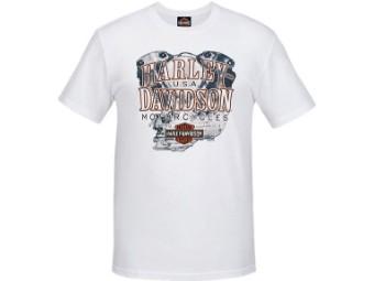 """Harley-Davidson Herren Dealer Shirt """"Knuckle Power"""" R003792 Weiß Engine"""
