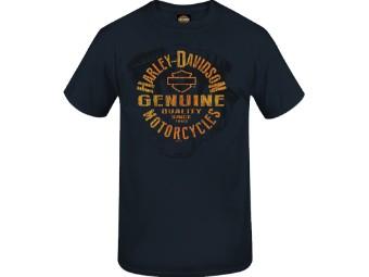 """Harley-Davidson Herren Dealer Shirt """"Gen Stamp"""" R004024 Deep Navy Engine"""