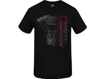 "Harley-Davidson Herren Dealer Shirt ""Side Engine"" R004047 Schwarz Motor B&S"