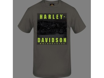 "Harley-Davidson Herren Dealer Shirt ""Hi Viz Name"" R004050 Grau/Neon Bike Tee"