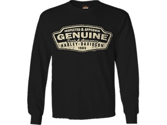 "Harley-Davidson ""Label Genuine"" Herren Dealer Longsleeve R004176 Denim Baumwolle"