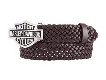 Ladies Belt -STAGE BROWN- HDWBT11536 Brown Bar & Shield