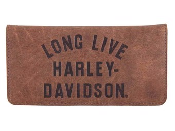 """Men's """"LONG LIVE"""" Leather Wallet brown HDMWA11555"""