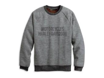 "Harley Davidson Sweatshirt ""Chain Stitch"" 96126-20VM Grey Rib Knit Tee"