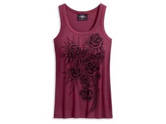 """Tanktop """"Embellished Roses"""" Feinripp 96201-20VW Dunkelrot"""