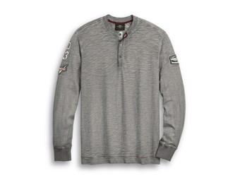 "Harley-Davidson Men's Long Sleeve ""Henley-Knit"" Grey 96310-20VM"