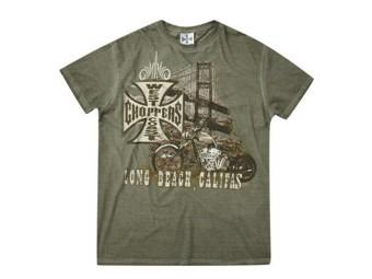 """""""BRIDGE"""" T-Shirt WCCTS132585GN Olive Men's Tee Cotton"""