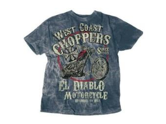 """""""EL DIABLO"""" T-Shirt WCCTS132621BL Blue Men's Tee Cotton"""