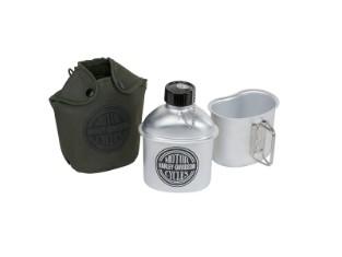 Aluminium Trinkflasche mit Becher und Canvas-Beutel