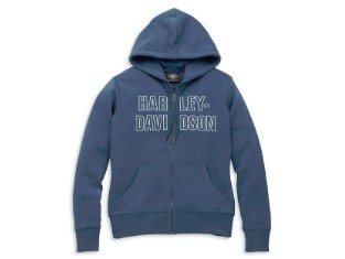 Hoodie Font Embroidered Blue