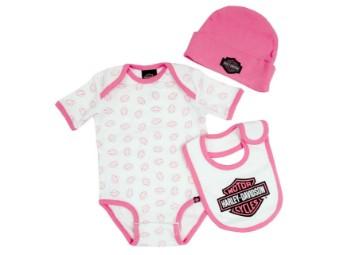 Baby Girl's Creeper Gift Box Set, Bar & Shield Logos