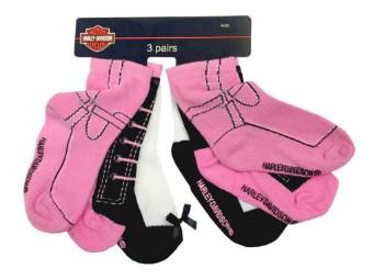 Little Girls' Knitted-In Socken 3 Paar