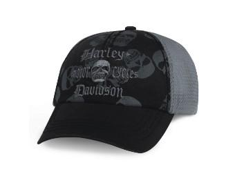 Black H-D Skull Trucker Cap