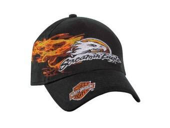 Screamin' Eagle Flames Stretch Fit Baseball Cap