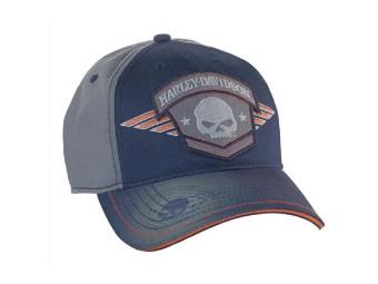 Baseball Cap Willie G Skull Badge Navy & Charcoal