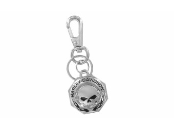 Chrome Willie G Skull H-D Flames Schlüsselanhänger