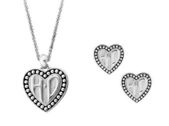 Heart H-D Kette & Ohrstecker Set