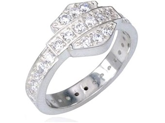 Silver Bling Bar & Shield Ring