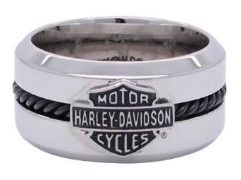 H-D Black Steel Wire Bar & Shield Ring