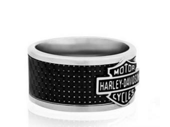 Bar & Shield Steel & Carbon Ring