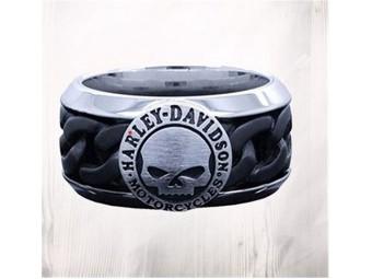 Steel Chain Willie G Skull H-D Ring
