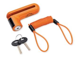 Bremsscheibenschloss und Erinnerungskabel Orange