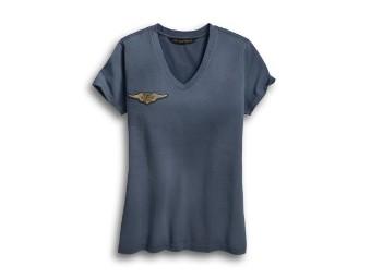 Embroidered Eagle V-Neck T-Shirt