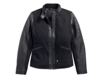 Wool Blend Leather Accent Casual Jacke