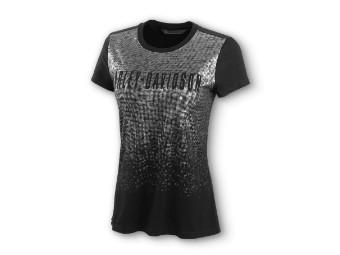 Metallic Print Front Black T-Shirt
