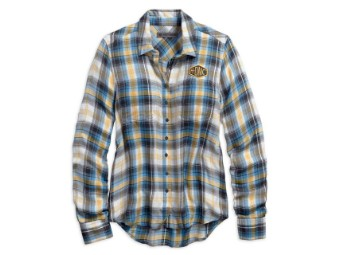 HDMC Patch Plaid Long Sleeve Bluse