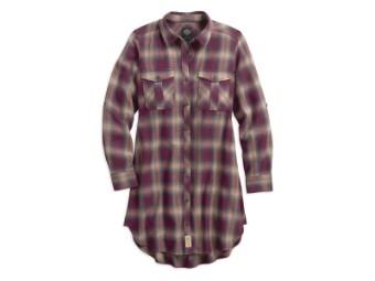 Plaid Roll-Tab Sleeve Bluse