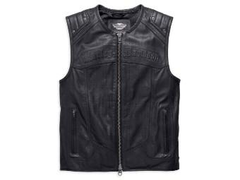 Tremor Genuine Leather Zippered Weste