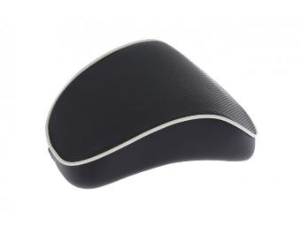 Rückenpolster Top Case 32L Schwarz mit weißem Keder