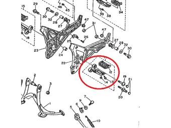 Fussraste komplett original Yamaha 1TX-27410-00-00