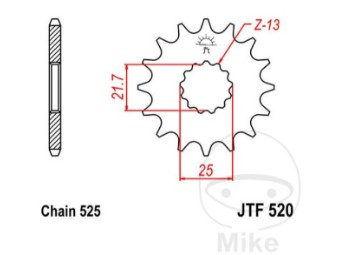 Ritzel 16Z Teilung 525 feinverzahnt Innendurchmesser 21.7/25