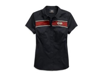 Damen Bluse Washed Zip-Front