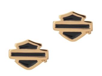 Ohrringe Gold Plated Blue Enamel B&S