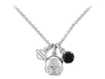 Kette Silver Skull & Stone Necklace