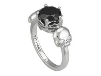 Ring Silver Skull & Stone